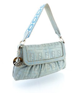 Fendi Italy Summer Striped Hobo Spy Shoulder Bag