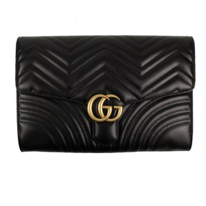 Gucci Leather Quilted Chevron Gold Hardware Logo Black Clutch