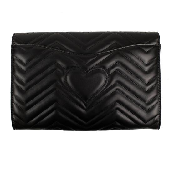 Gucci Leather Quilted Chevron Gold Hardware Logo Black Clutch Image 2