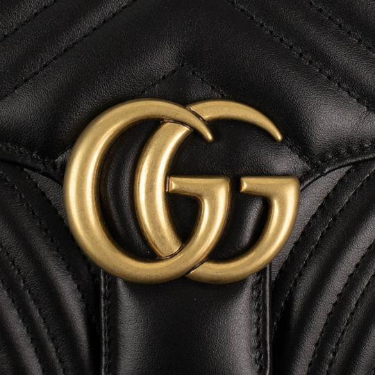 Gucci Leather Quilted Chevron Gold Hardware Logo Black Clutch Image 5