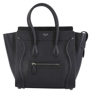 Céline Leather Satchel in black