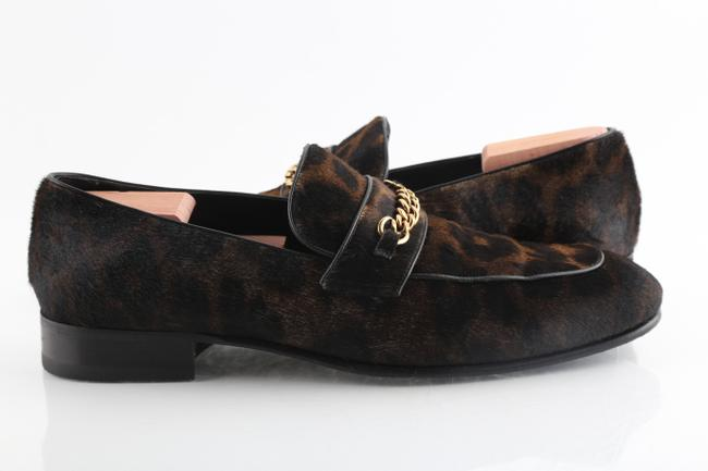 Item - Multicolor Leopard-print Pony Hair Chain Loafer Shoes