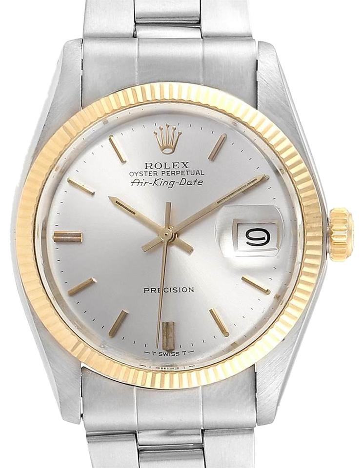 Rolex Silver Air King Dial Vintage Steel Yellow Gold Mens 5701 Watch