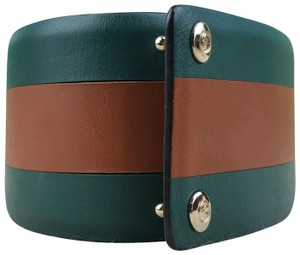 Gucci Gucci Green Leather Brown Stripe Wide Waist Belt Size 65/26 SALE!