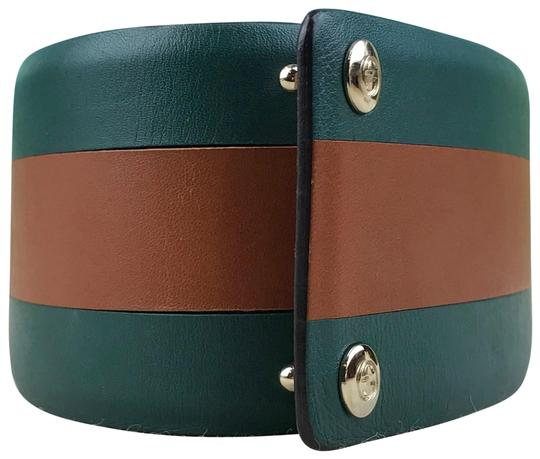 Gucci Gucci Green Leather Brown Stripe Wide Waist Belt Size 65/26 SALE! Image 0