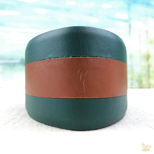 Gucci Gucci Green Leather Brown Stripe Wide Waist Belt Size 65/26 SALE! Image 1