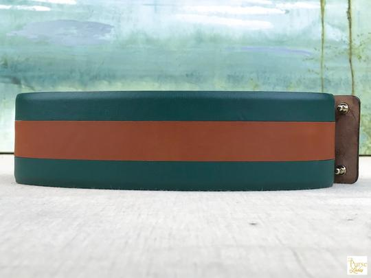 Gucci Gucci Green Leather Brown Stripe Wide Waist Belt Size 65/26 SALE! Image 2