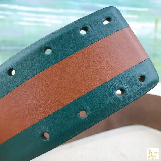 Gucci Gucci Green Leather Brown Stripe Wide Waist Belt Size 65/26 SALE! Image 4