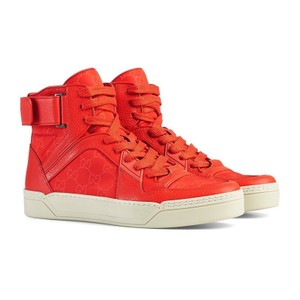 Gucci Dusk Red Nylon Guccissima High-top Sneakers 409766 (11.5 G / 12.5 Us) Shoes