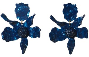 Lele Sadoughi BRAND NEW Lele Sadoughi Crystal Lily Flower Earrings NAVY