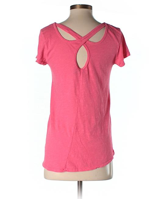 Item - Coral Pink Left Of Center Asymmetric Cut-out Back Cotton Tee Shirt Size 6 (S)