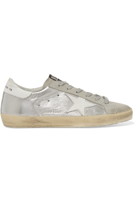 Item - Superstar Distressed Metallic Leather and Suede Sneakers Size EU 37 (Approx. US 7) Regular (M, B)