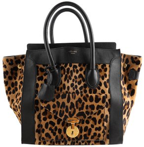 Céline Leopard Pony Hair Tote in Black