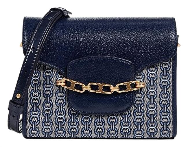 Item - Gemini Link Jaquard Small Navy/New Ivory/Blue Lotus Leather/Canvas Cross Body Bag