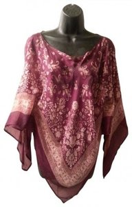 Charlotte Russe Sheer Poncho Silk Top Plum with pink