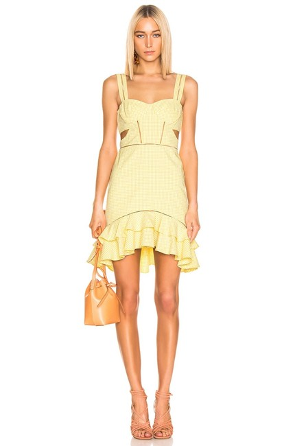 Item - Yellow Gingham Mid-length Cocktail Dress Size 2 (XS)