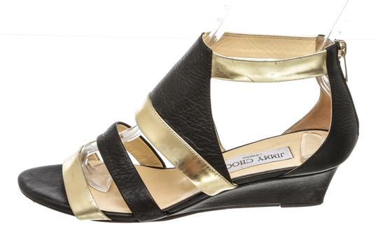 Jimmy Choo Wedge Black and Gold Sandals Image 3