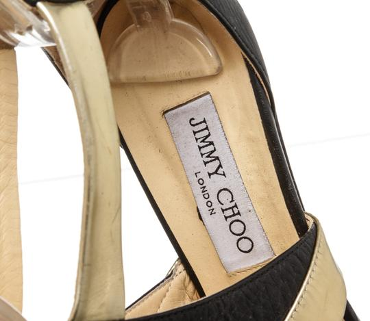 Jimmy Choo Wedge Black and Gold Sandals Image 8