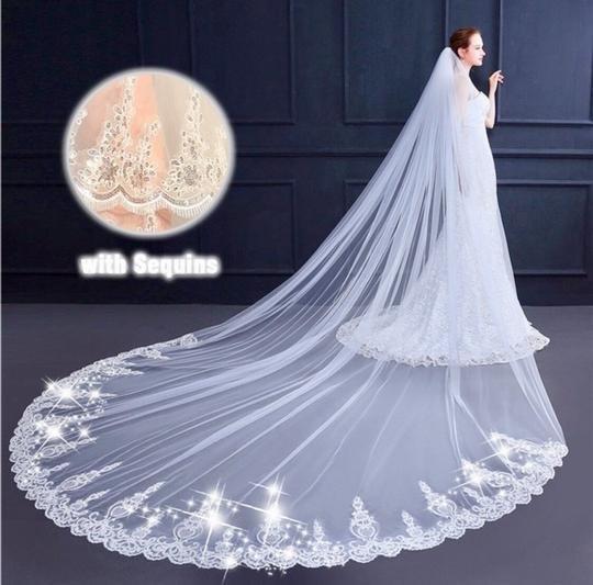 Long New White Or Ivory 3m/10 Feet Sequins Cathedral Bridal Veil Image 1