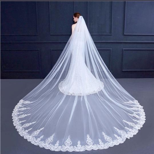 Long New White Or Ivory 3m/10 Feet Sequins Cathedral Bridal Veil Image 2