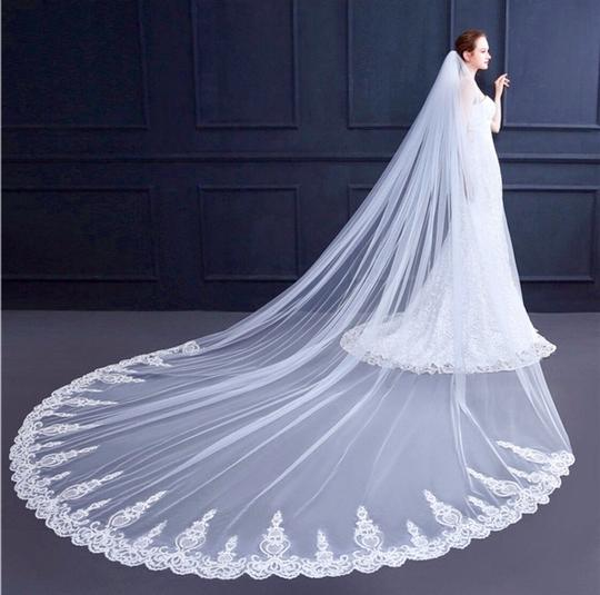 Long New White Or Ivory 3m/10 Feet Sequins Cathedral Bridal Veil Image 3