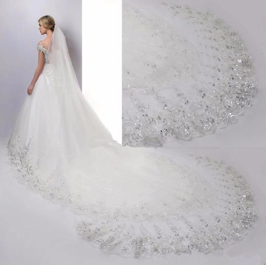 Long New White Or Ivory 3m/10 Feet Sequins Cathedral Bridal Veil Image 5