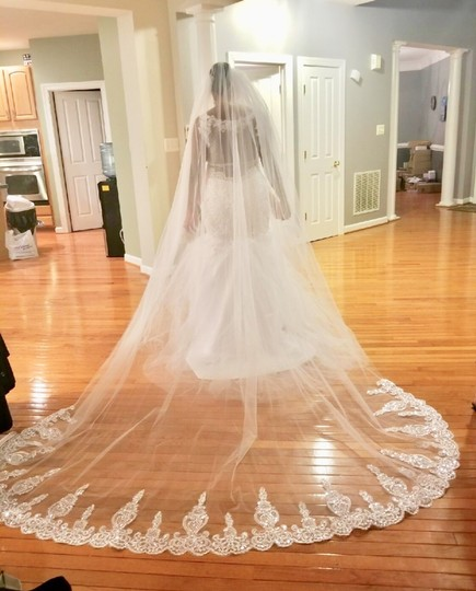 Long New White Or Ivory 3m/10 Feet Sequins Cathedral Bridal Veil Image 7