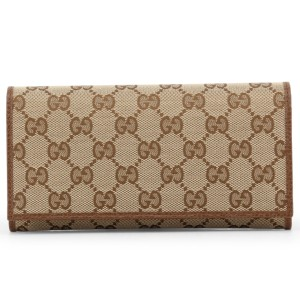 Gucci NEW Gucci Brown Ebony Canvas Leather GG Guccissima Continental Bifold Wallet 346058