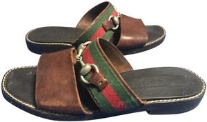 Gucci Vintage Leather Brown, Green, and Red Sandals
