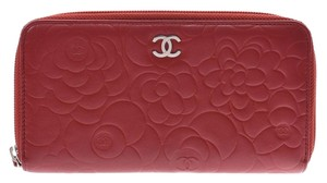Chanel Chanel Camellia Round Fastener Long Wallet Red SV Hardware Lambskin