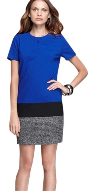 Item - Black Blue White Women's Color Tweed Mid-length Work/Office Dress Size 2 (XS)