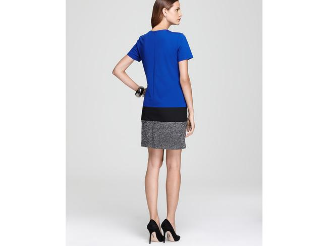 Vince Camuto Black Blue White Women's Color Tweed Mid-length Work/Office Dress Size 2 (XS) Vince Camuto Black Blue White Women's Color Tweed Mid-length Work/Office Dress Size 2 (XS) Image 2