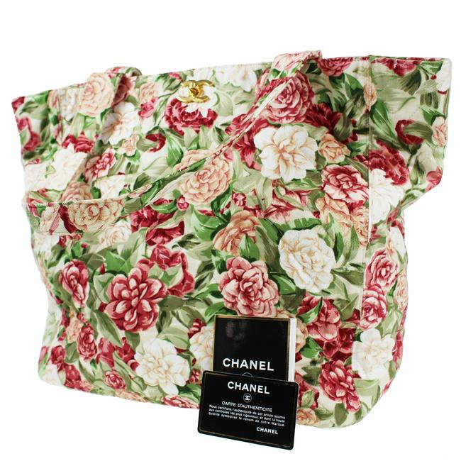 Item - Shopping Tote Vintage 90's Floral Flower Beach Quilted Cc Green Red White Canvas Shoulder Bag