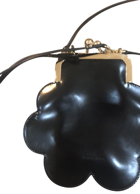 Item - Cloud Black Leather and Gold Cross Body Bag