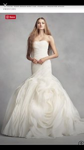 White by Vera Wang Ivory Organza Collection Vintage Wedding Dress Size 8 (M)