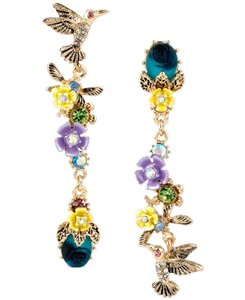 """Betsey Johnson Mis-matched """"Spring Ahead"""" Linear Hummingbird Earrings"""