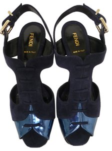 Fendi Metallic Blue Platforms