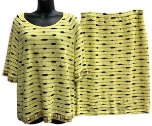 Stizzoli STIZZOLI MADE IN ITALY BLACK/YELLOW KNIT SKIRT SUIT 48