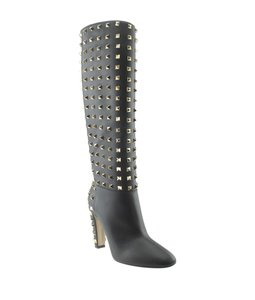 Valentino Knee - High Leather Black Boots
