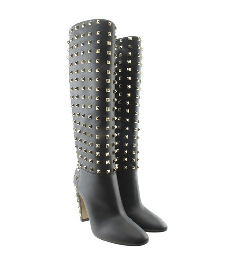 Valentino Knee - High Leather Black Boots Image 1
