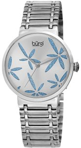 Burgi Stainless Steel Quartz Silver And Blue Leaf Dial Ladies Watch