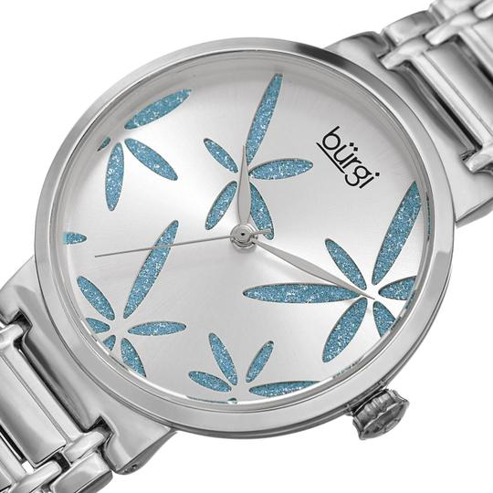 Burgi Stainless Steel Quartz Silver And Blue Leaf Dial Ladies Watch Image 1