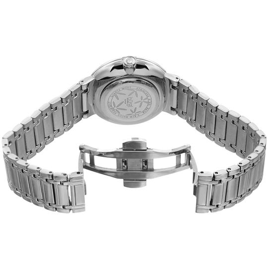 Burgi Stainless Steel Quartz Silver And Blue Leaf Dial Ladies Watch Image 3