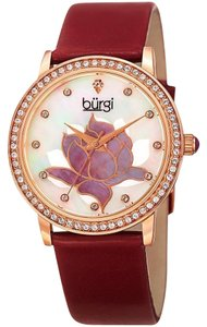Burgi Rose Gold Alloy Case With A Red Leather Strap Quartz Ladies Watch