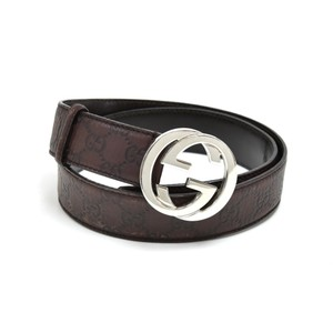 Gucci Gucci GG Monogram Logo Stamped Brown Leather & Silver Buckle Belt - Si