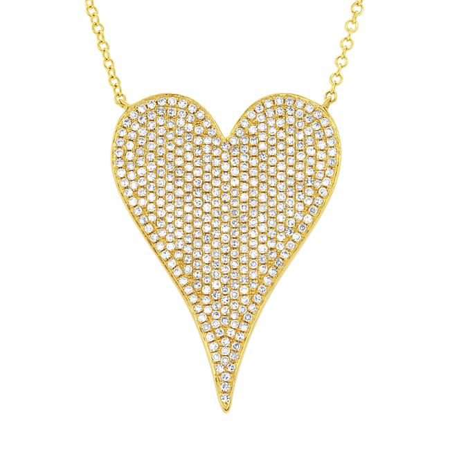 Item - 14k Yellow Gold Pave Diamond 0.83cttw Heart Pendant 17 Inch Necklace