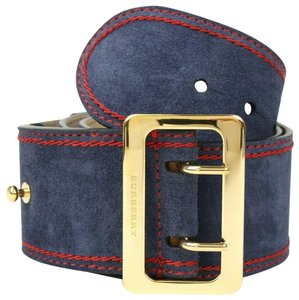 Burberry Women's Navy Prorsum Suede Military Belt w/gold Buckle 80/32 4021150