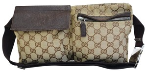 Gucci Authentic GUCCI GG Logo Pattern Bum Bag Belt Canvas Leather Brown Ital