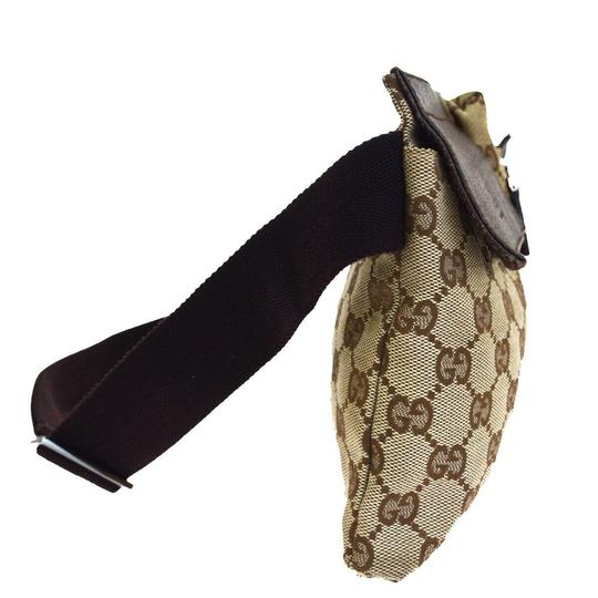 Gucci Authentic GUCCI GG Logo Pattern Bum Bag Belt Canvas Leather Brown Ital Image 1