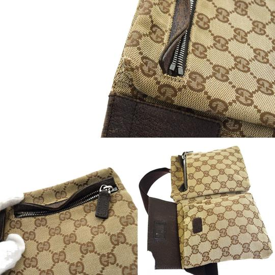 Gucci Authentic GUCCI GG Logo Pattern Bum Bag Belt Canvas Leather Brown Ital Image 10